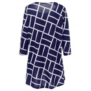 Plus Size Geometric Smock Blouse - DEEP BLUE 3XL