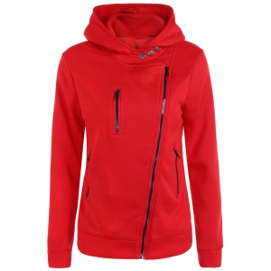 Pocket Oblique Zipper Hoodie