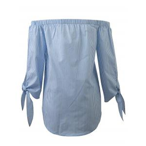 Off The Shoulder Long Sleeve Striped Slit Blouse - LIGHT BLUE L