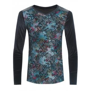 Grid and PU-Leather Spliced Flower Print Long Sleeve T-Shirt - Black - M