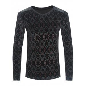PU-Leather Spliced Velvet Argyle Print Long Sleeve T-Shirt - Black - 3xl