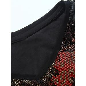 Grid and PU-Leather Spliced Florals Print Long Sleeve T-Shirt - BLACK 5XL