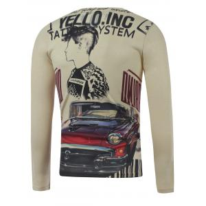 Plus Size Long Sleeve Figure and Car Print T-Shirt - COLORMIX XL