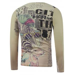 Plus Size Long Sleeve Zebra Print T-Shirt - COLORMIX 3XL