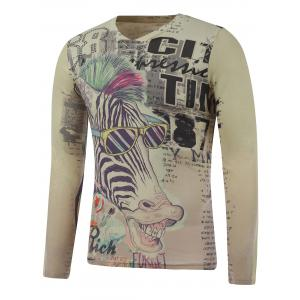 Plus Size Long Sleeve Zebra Print T-Shirt