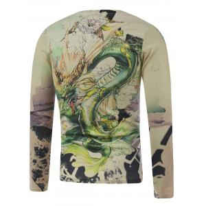 Plus Size Long Sleeve Dragon in the Sky Print T-Shirt - COLORMIX 5XL