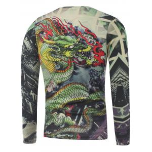 Plus Size Long Sleeve Dragon and Geometric Print T-Shirt - COLORMIX 5XL