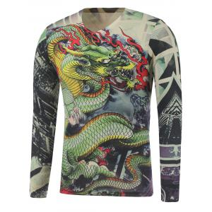 Plus Size Long Sleeve Dragon and Geometric Print T-Shirt