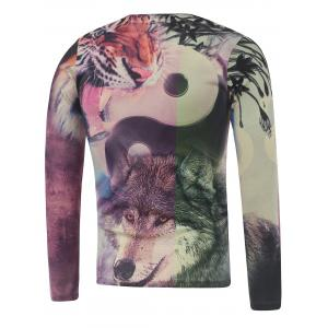 Plus Size Long Sleeve Animals Print T-Shirt -