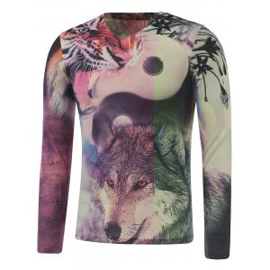 Plus Size Long Sleeve Animals Print T-Shirt