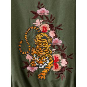 Drawstring Floral Embroidered Field Jacket -