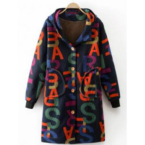 Printed Hooded Quilted Coat