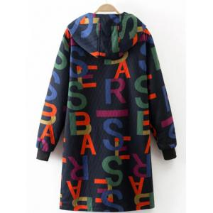 Printed Hooded Quilted Coat - PURPLISH BLUE L