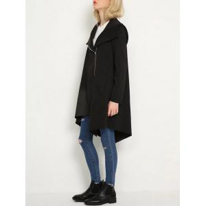 Hooded Oblique Zipper Asymmetric Long Trench Coat -