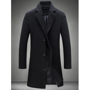 Plus Size Single Breasted Longline Woolen Coat - Black - Xl