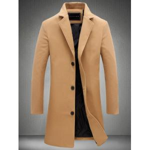 Plus Size Single Breasted Longline Woolen Coat - Khaki - M