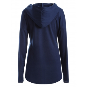 Plus Size Drop Shoulder with Pocket Hoodie -