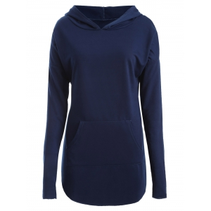 Plus Size Drop Shoulder with Pocket Hoodie