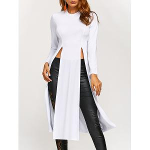 Round Neck High Slit Long T-Shirt - White - Xl