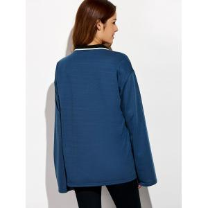 Double-Breasted Loose-Fitting T-Shirt - DEEP BLUE ONE SIZE