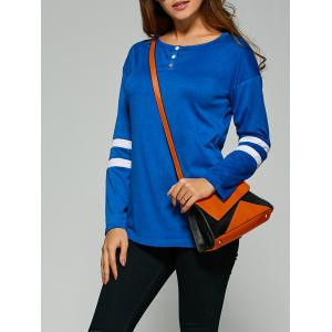 Striped Button Embellished T-Shirt