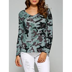 Army Camo Print Long Sleeve Slimming T-Shirt - Light Blue - S