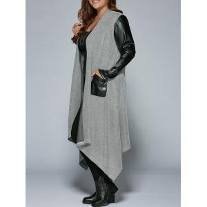 Plus Size PU Patchwork Long Asymmetrical Coat - Black And Grey - 5xl