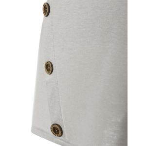 Button Longline T-Shirt with Elbow Patch -