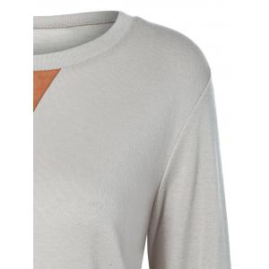 Button Longline T-Shirt with Elbow Patch - LIGHT GRAY 2XL