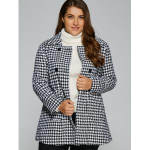 Warm Plus Size Houndstooth Coat - WHITE 4XL