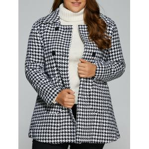 Warm Plus Size Houndstooth Coat - White - 3xl