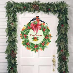 Christmas Wreath Removable Glass Window Wall Stickers - RED/GREEN