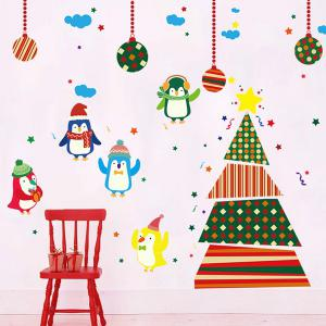 Colorful Penguins Christmas Removable Children's Room Wall Stickers - COLORFUL