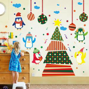Colorful Penguins Christmas Removable Children's Room Wall Stickers - Colorful - S