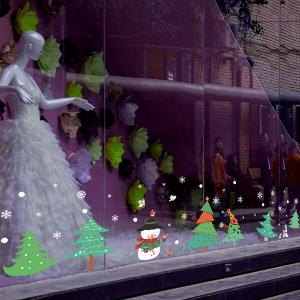 Christmas Trees Removable Glass Window Wall Stickers - GREEN