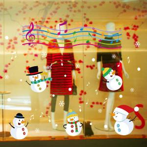 Christmas Music Snowmans Removable Glass Window Wall Stickers