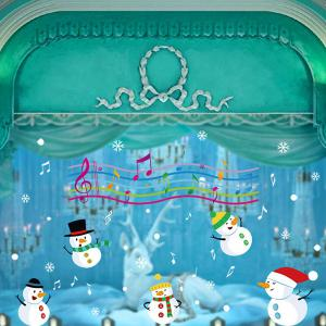 Christmas Music Snowmans Removable Glass Window Wall Stickers - COLORFUL