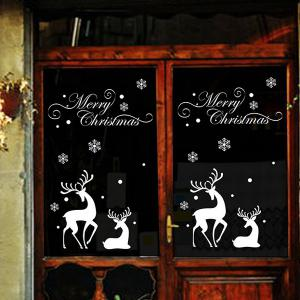 Christmas Reindeer Removable Glass Window Vinyl Wall Stickers - WHITE