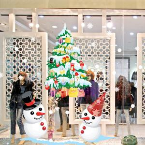 Christmas Snowmans and Multicolor Tree Removable Glass Window Wall Stickers - Colorful