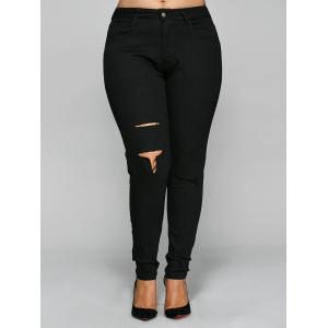 Skinny Plus Size Ripped Pencil Pants - Black - 2xl