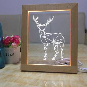 USB Wooden Photo Frame Deer Night Light -