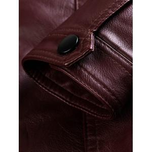 Stand Collar Zip Pocket PU Leather Jacket - WINE RED 3XL