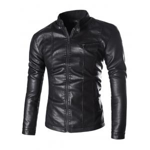 Stand Collar Zip Pocket PU Leather Jacket - Black - M