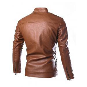Stand Collar Zip Cuff Faux Leather Jacket - GOLD BROWN XL