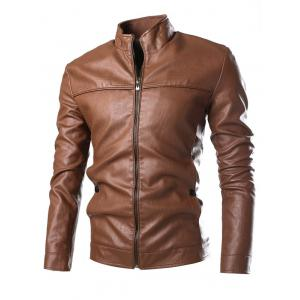 Stand Collar Zip Cuff Faux Leather Jacket - Gold Brown - M