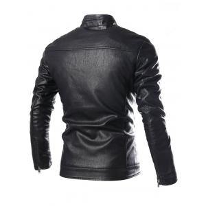Stand Collar Zip Pocket Faux Leather Jacket -