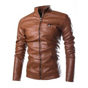 Stand Collar Zip Pocket Faux Leather Jacket - Gold Brown - M
