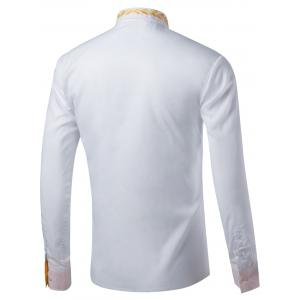 Long Sleeve Leaf Embroidered Shirt - WHITE 2XL
