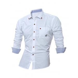 Embroidered Chest Pocket Button Down Shirt