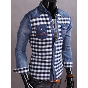 Snap Button Plaid Insert Jean Shirt - CADETBLUE M